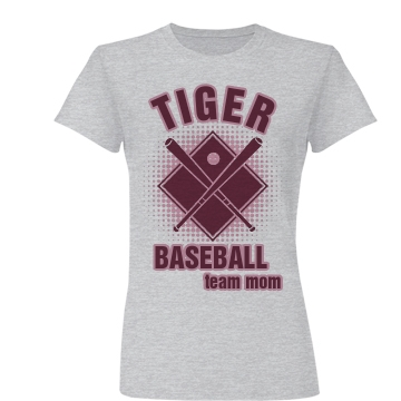 Tiger Baseball Mom Junior Fit Basic Bella Favorite Tee