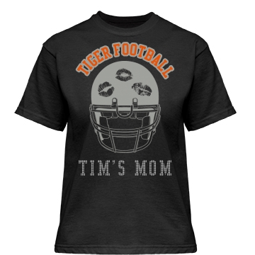 Tiger Football Rhinestone Misses Relaxed Fit Gildan Heavy Cotton Tee