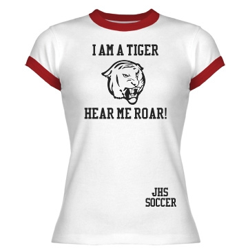 Tiger Ringer Tee Junior Fit Bella 1x1 Rib Ringer Tee