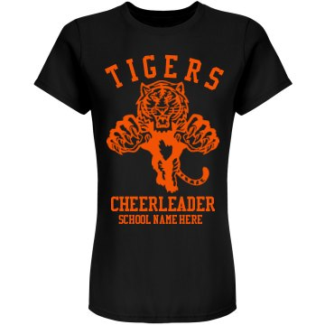 Tigers Cheerleader w/ Bk Junior Fit American Apparel Fine Jersey Tee