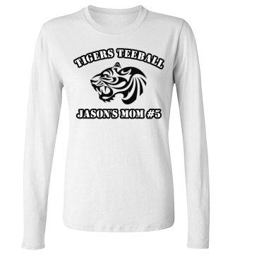 Tigers Teeball Junior Fit Bella Long Sleeve Crewneck Jersey Tee