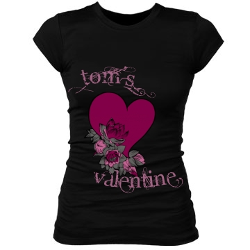 Tom's Valentine heart Junior Fit Bella Sheer Longer Length Rib Tee