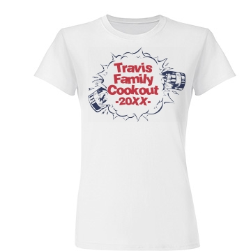 Travis Family 4th Cookout Junior Fit Basic Tultex Fine Jersey Tee