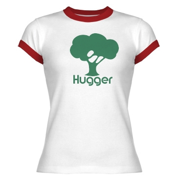Tree Hugger Junior Fit Bella 1x1 Rib Ringer Tee