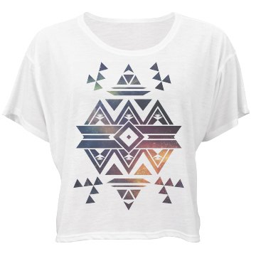 Tribal Aztec Space Design Bella Flowy Boxy Lightweight Crop Top Tee
