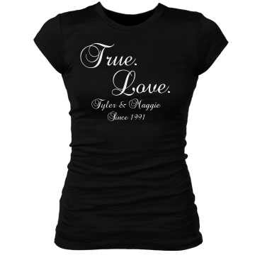 True Love With Date Junior Fit Bella Sheer Longer Length Rib Tee