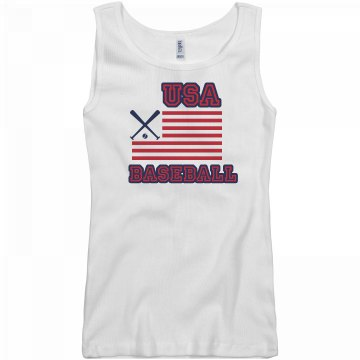 USA Baseball Junior Fit Basic Bella 2x1 Rib Tank Top