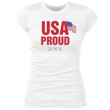 USA Proud Tee Junior Fit Bella Sheer Longer Length Rib Tee