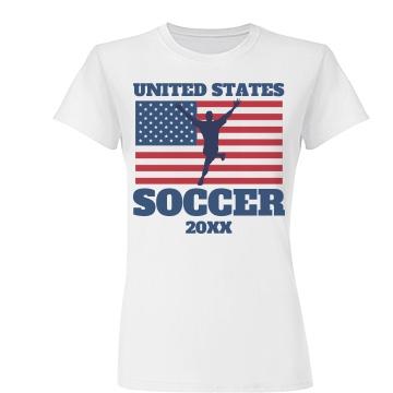 USA Soccer Fan Junior Fit Basic Tultex Fine Jersey Tee
