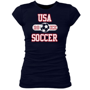 USA Soccer Fan Junior Fit Bella Sheer Longer Length Rib Tee
