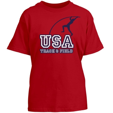 USA Track & Field Tee Youth Gildan Heavy Cotton Crew Neck Tee