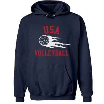 USA Volleyball Hoodie Unisex Hanes Ultimate Cotton Heavyweight Hoodie