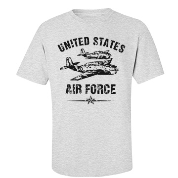 USAF Military Distressed Unisex Gildan Heavy Cotton Crew Neck Tee