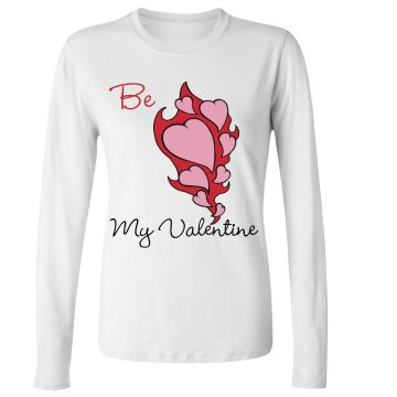 valentines day Junior Fit Bella Long Sleeve Crewneck Jersey Tee