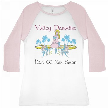 Valley Paradise Salon Junior Fit Bella 1x1 Rib 3/4 Sleeve Raglan Tee