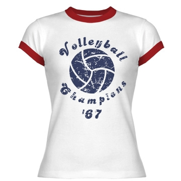Volleyball Champions '67 Junior Fit Bella 1x1 Rib Ringer Tee