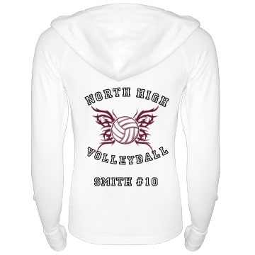 Volleyball Hoodie Junior Fit Bella Long Sleeve 1/2 Zip Hooded Pullover Tee