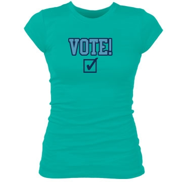Vote!  Junior Fit Bella Sheer Longer Length Rib Tee