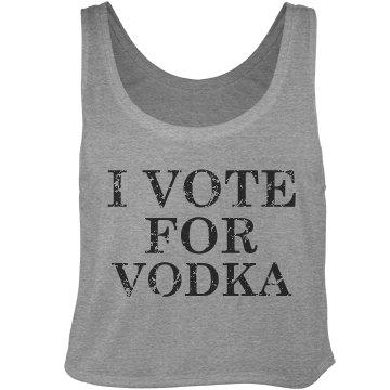 Vote For Vodka Distressed Bella Flowy Boxy Lightweight Crop Top Tank Top