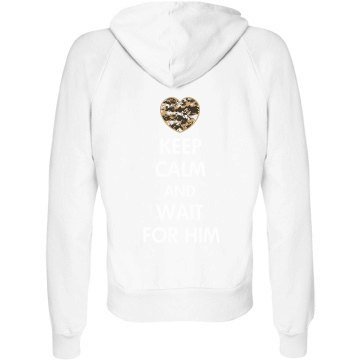 Wait For Him Military Junior Fit Bella Fleece Raglan Full Zip Hoodie