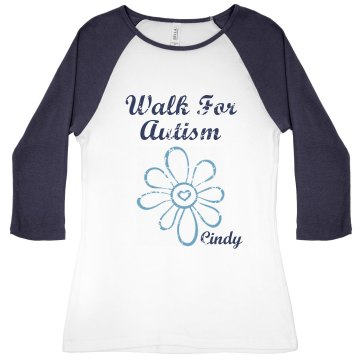 Walk For Autism Junior Fit Bella 1x1 Rib 3/4 Sleeve Raglan Tee