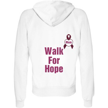 Walk for Hope Junior Fit Bella Fleece Raglan Full Zip Hoodie
