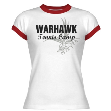 Warhawk Tennis Camp Junior Fit Bella 1x1 Rib Ringer Tee
