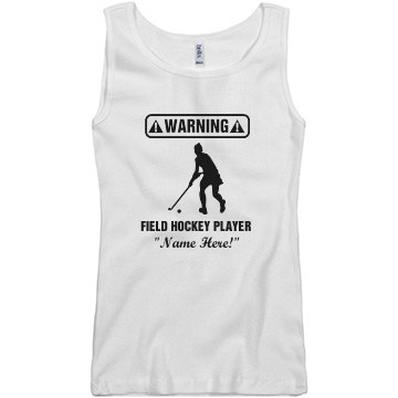 Warning Field Hockey  Junior Fit Basic Bella 2x1 Rib Tank Top