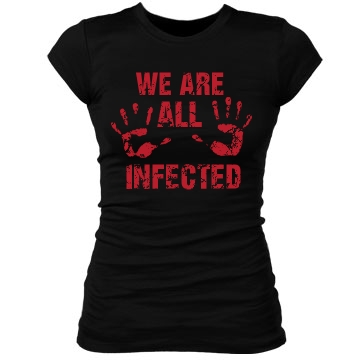 We Are All Infected Junior Fit Bella Sheer Longer Length Rib Tee