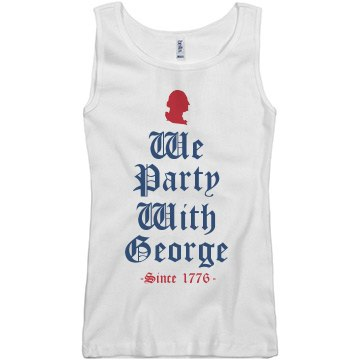 We Party With George 1776 Junior Fit Basic Bella 2x1 Rib Tank Top