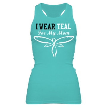 Wear Teal Ovarian Cancer Junior Fit Bella Sheer Longer Length Rib Racerback Tank Top