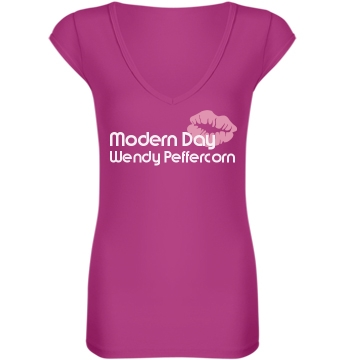 Wendy Peffercorn Junior Fit Bella Sheer Longer Length Rib V-Neck Tee