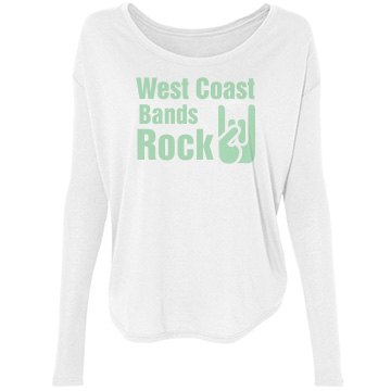 West Coast Bands Rock Bella Flowy Lightweight Long Sleeve Tee with Rib Sl