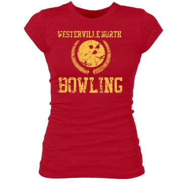 Westerville North Bowling Junior Fit Bella Sheer Longer Length Rib Tee
