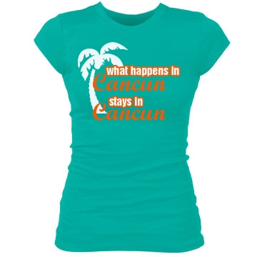 What Happens In Cancun Junior Fit Bella Sheer Longer Length Rib Tee