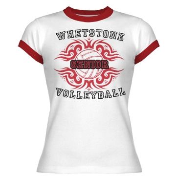 Whetstone Volleyball T Junior Fit Bella 1x1 Rib Ringer Tee