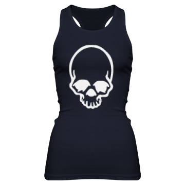 White Skull Outline Junior Fit Bella Sheer Longer Length Rib Racerback Tank Top