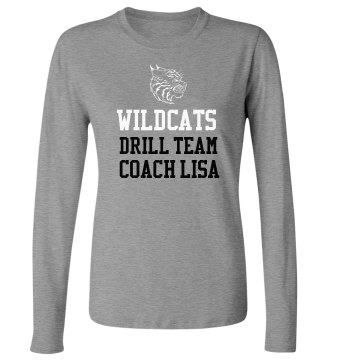 Wildcats Drill Team Tee Junior Fit Bella Long Sleeve Crewneck Jersey Tee