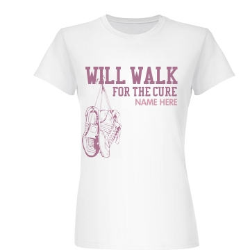 Will Walk Breast Cancer Junior Fit Basic Bella Favorite Tee