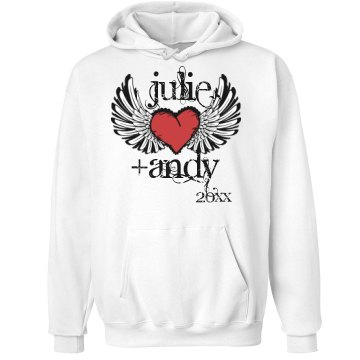 Winged Heart Hoodie Unisex Hanes Ultimate Cotton Heavyweight Hoodie