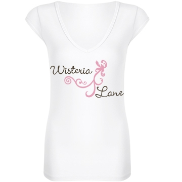 Wisteria Lane Junior Fit Bella Sheer Longer Length Rib V-Neck Tee