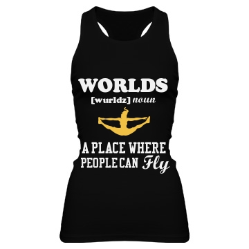 Worlds Cheer Fly Tank Junior Fit Bella Sheer Longer Length Rib Racerback Tank Top