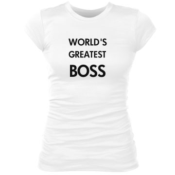 World's Greatest Boss Junior Fit Bella Sheer Longer Length Rib Tee