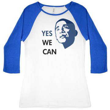 Yes We Can Junior Fit Bella 1x1 Rib 3/4 Sleeve Raglan Tee