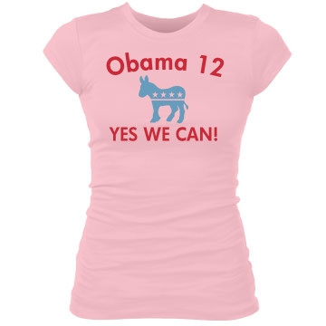 Yes We Can Obama Junior Fit Bella Sheer Longer Length Rib Tee