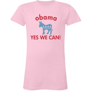 Yes We Can Obama Junior Fit LA T Fine Jersey Tee