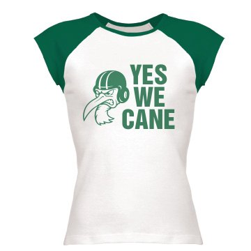 Yes We Cane Junior Fit Bella 1x1 Rib Cap Sleeve Raglan Tee