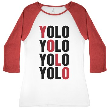 YOLO Diagonal Junior Fit Bella 1x1 Rib 3/4 Sleeve Raglan Tee