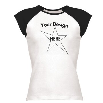 YOUR DESIGN Junior Fit Bella 1x1 Rib Cap Sleeve Raglan Tee