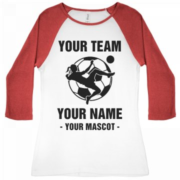 Your Team Soccer Junior Fit Bella 1x1 Rib 3/4 Sleeve Raglan Tee